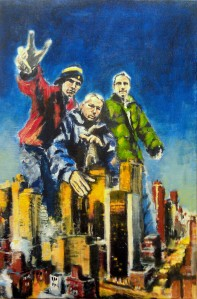 Robert Reeves - BBoys Take Manhattan (in progress) - Acrylic on Linen - 2012