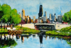 """View of Downtown Chicago from Lincoln Park, acrylic on linen, 14"""" x 10"""" - 2012"""