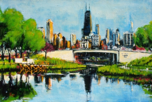 "View of Downtown Chicago from Lincoln Park, acrylic on linen, 14"" x 10"" - 2012"
