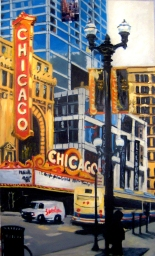 """The Chicago Theater, oil on linen, 36"""" x 60"""" - 2009"""