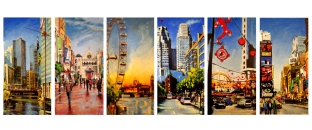 """7 Cities, oil on linen, 36"""" x 72"""" (individual sizes) - 2009"""