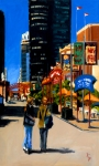"Navy Pier Facing West, oil on linen, 36"" x 60"", 2009"