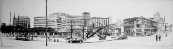 "Robert Reeves, Cowles Commons, graphite on paper, 50""x18"", 2015"