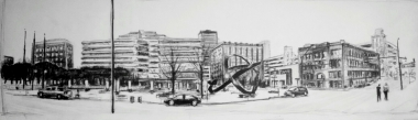 """Robert Reeves, Cowles Commons, graphite on paper, 50""""x18"""", 2015"""