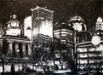 "DSM Lights from Court Ave, charcoal on paper, 18"" x 24"", 2010"