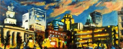 "DSM Lights, oil on linen, 20"" x 50"" - 2009"