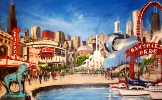 """Impressions of Chicago, oil on linen, 30"""" x 48"""" - 2011"""