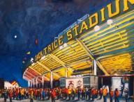 "Robert Reeves, ISU - Hilton Coliseum. Oil on Linen. 30"" x 48"". 2013"