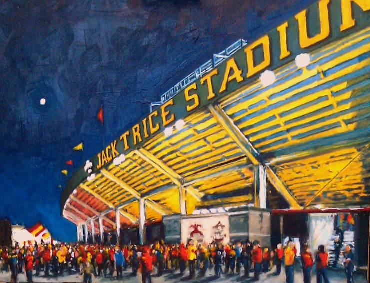 "Robert Reeves, ISU - Hilton Coliseum. Oil on Linen. 30"" x 48"". 2013"