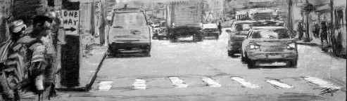 Robert Reeves, One Way, Charcoal on paper, 48x24, 2016