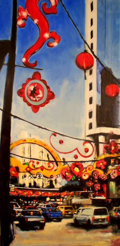 """Singapore: New Year - oil on linen - 36"""" 72"""" - 2011"""