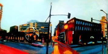 Robert Reeves, The Big Umbrella, latex paint on maple panel, 2014