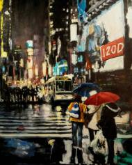 Robert Reeves, Untitled Times Square 6, oil on linen, 48x30, 2017