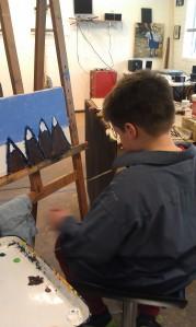 Zane Reeves-Mountain range-acrylic on canvas-in progress-2013
