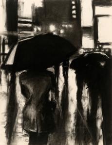 "Robert Reeves - Rain Slick, charcoal on paper, 18""x24, 2010"
