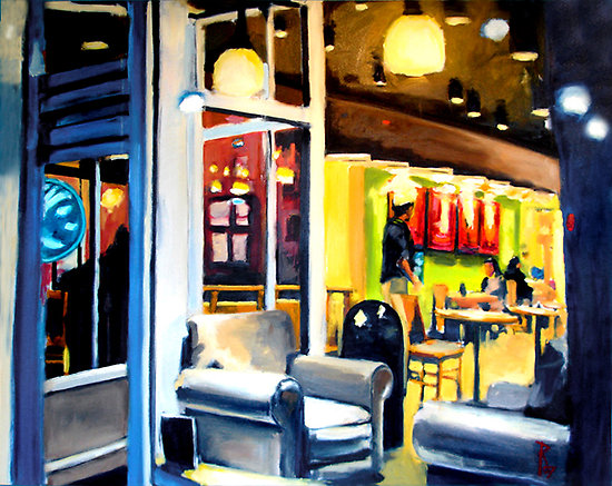 Robert Reeves, Coffee on 5th Ave, oil on canvas, 48x48, 2007