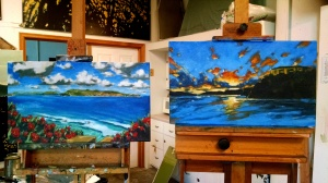 "Machan commission, ""Someone's Island Paradise 1&2"" (unfinished pair), oil on linen, 14""x24"", 2014"