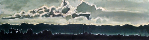 Robert Reeves, Windmills, Oil on canvas, 72x24, 2014