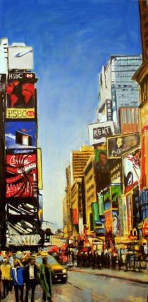 Robert Reeves, Cab Dodging, 36x72, oil on linen,2010