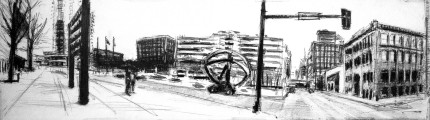 Robert Reeves, 3rd and Locust, graphite on paper, 48x12, 2015
