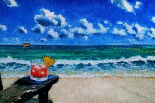 Robert Reeves, Manheimer Jamaican beach, 16x24, 2015