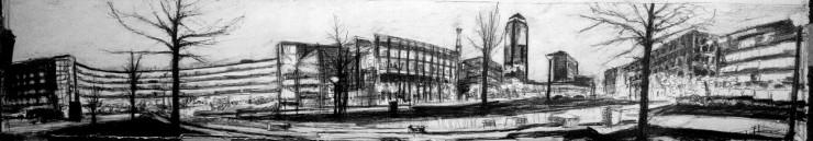 Robert Reeves, Western Gateway, graphite on paper, 50x8, 2015-1