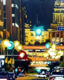 robert reeves, the capital from 13th and Locust, oil on canvas, 24x36, 2015