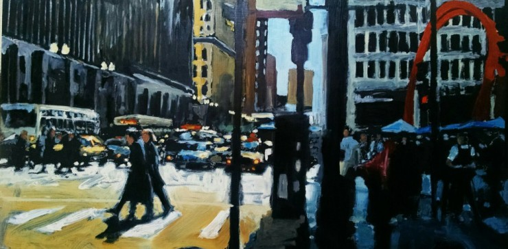 "Robert Reeves, Untitled Chicago #12, Oil on panel, 24"" x 48"", 2015"