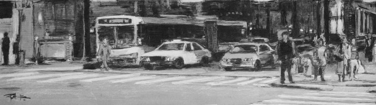 Robert Reeves, Starting Line, Charcoal on paper, 48x24, 2016