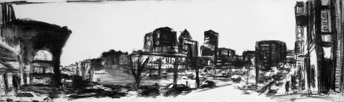 robert-reeves-court-and-4th-litho-crayon-on-paper-12x40-2015