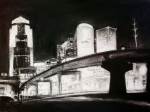 DSM Skyline #10, charcoal on paper, 2018