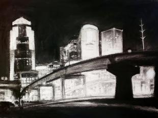 DSM Skyline #10, charcoal on paper, 2018